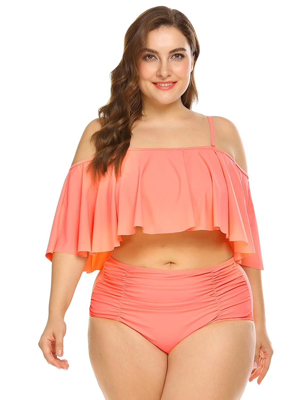 IN'VOLAND Women Plus Size Two PieceHigh Waisted Bikini Ruffled Flounce Top Bathing Suits Swimwear