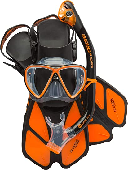 Bonete Pro Dry Set: Designed in Italy Mask, Dry Snorkel, Adjustable Fins Ideal for Travel Lightweight Colorful Equipment Cressi Adult Snorkeling Set