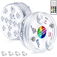 LOFTEK LED Lights Waterproof with Remote (RF), Suction Cups, Magnets, Color Changing Submersible LED Light Battery Operated Underwater Lights for Pool, Pond, Bathtub, Hot Tub, Party, Even (2 Packs)