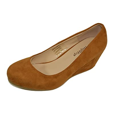HapHop Women\'s Classic Almond Toe Mid Heel Wedge Pump Slip On Shoes | Pumps [3Bkhe0606613]