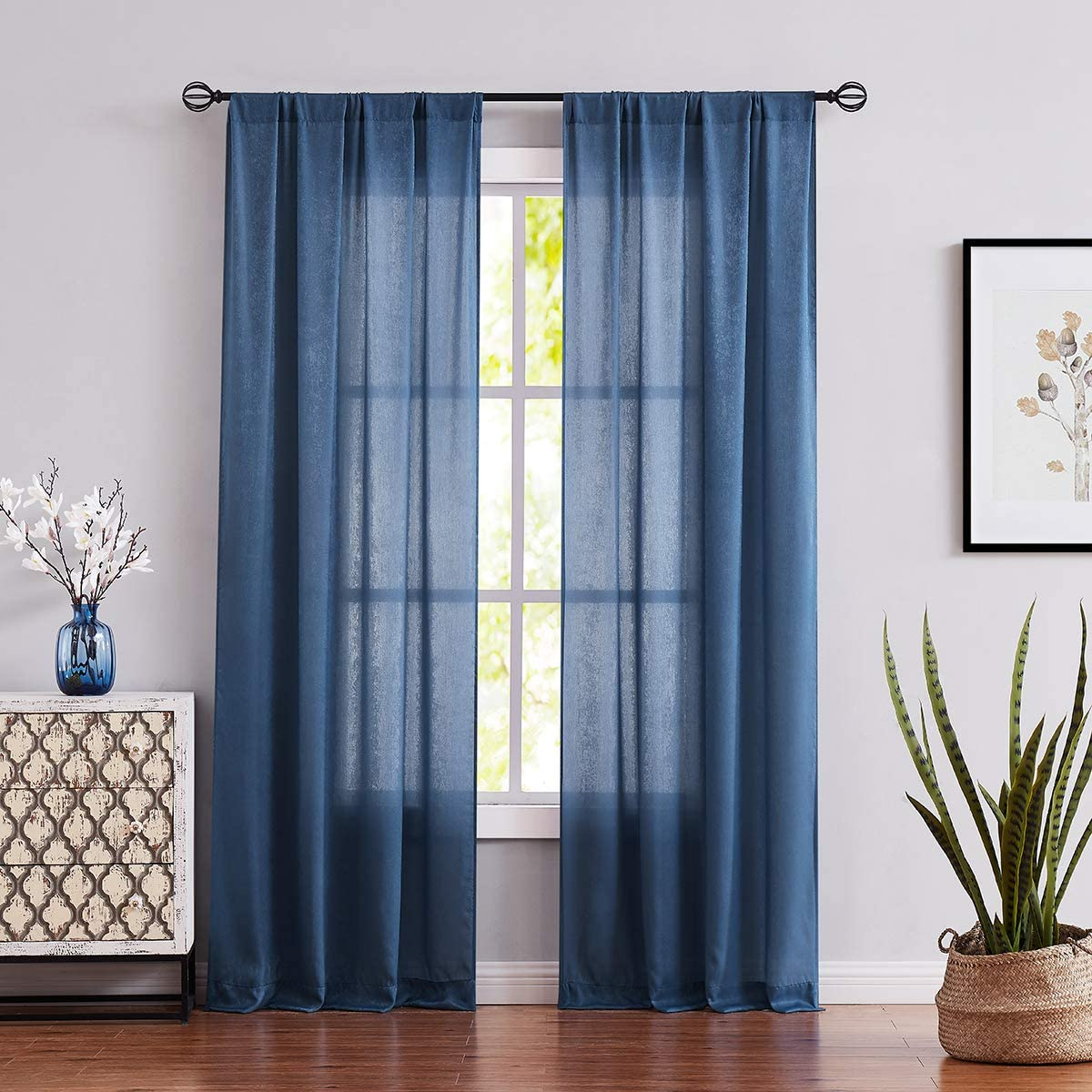 Fmfunctex Blue Semi-Sheer Curtains for Bedroom 96 Long Velvet Soft Window Draperies for Living Room 2 Pc Rod Pocket