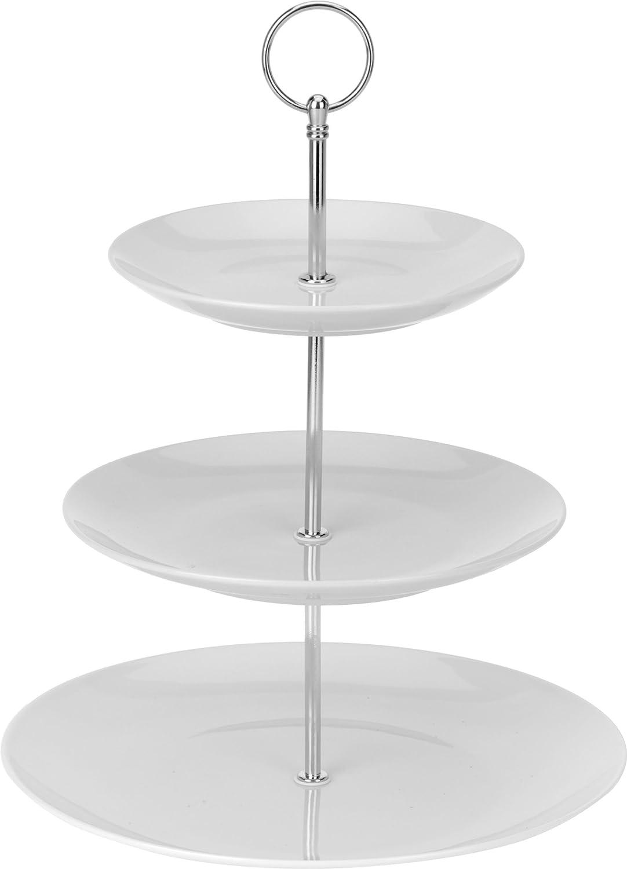 Rosa Porzellan Etagere 3-st/öckig 6,25//8,25//10 Zoll Servierst/änder MALACASA Serie Sweet.Time