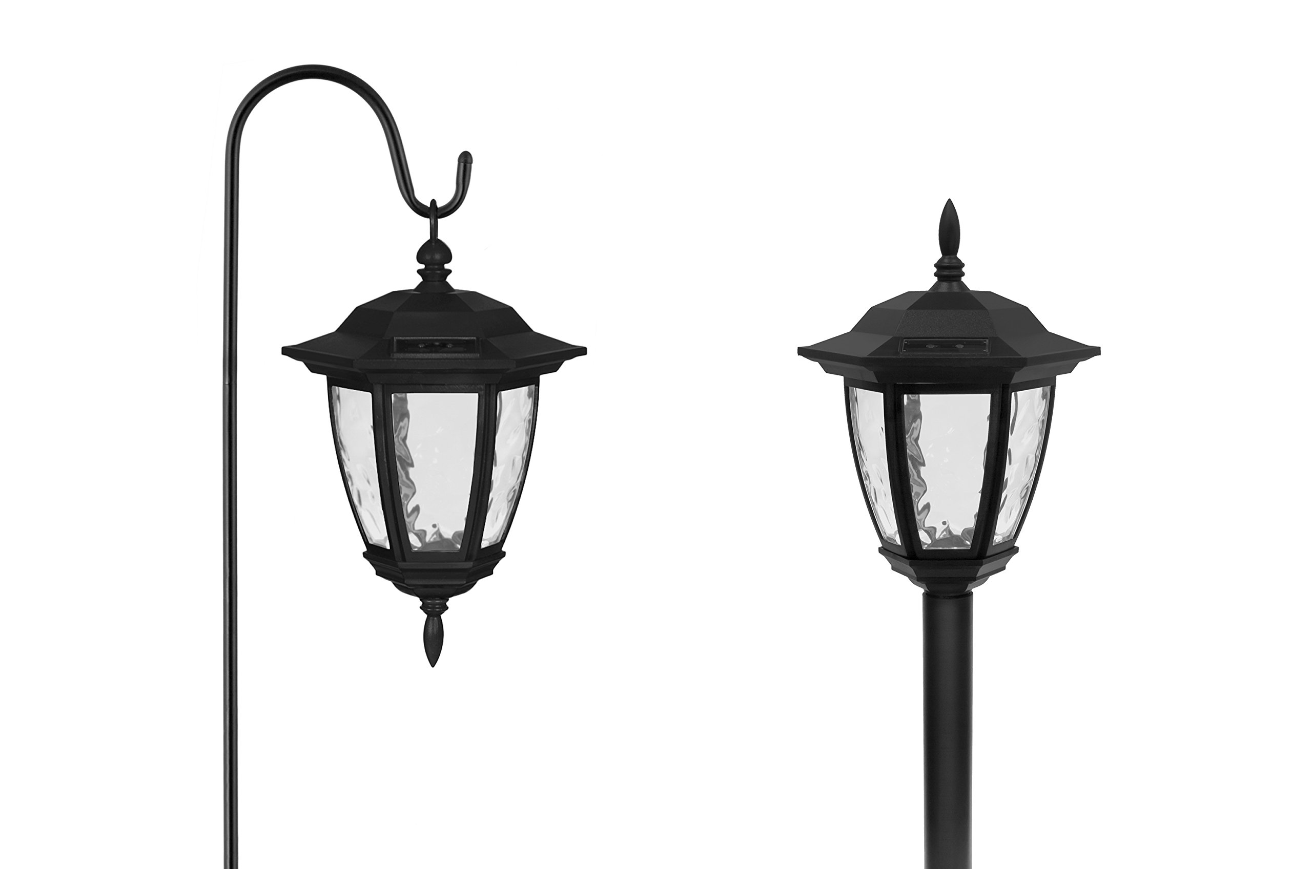 ezsolar Dual Use Classic Coach Light (Set of 2) Model #: CPM1a-R2- BK-2, Powered by SunPower Solar Panels, Pathway Lights, Outdoor Lighting, 1 AA Battery Included, 1 Year Warranty.
