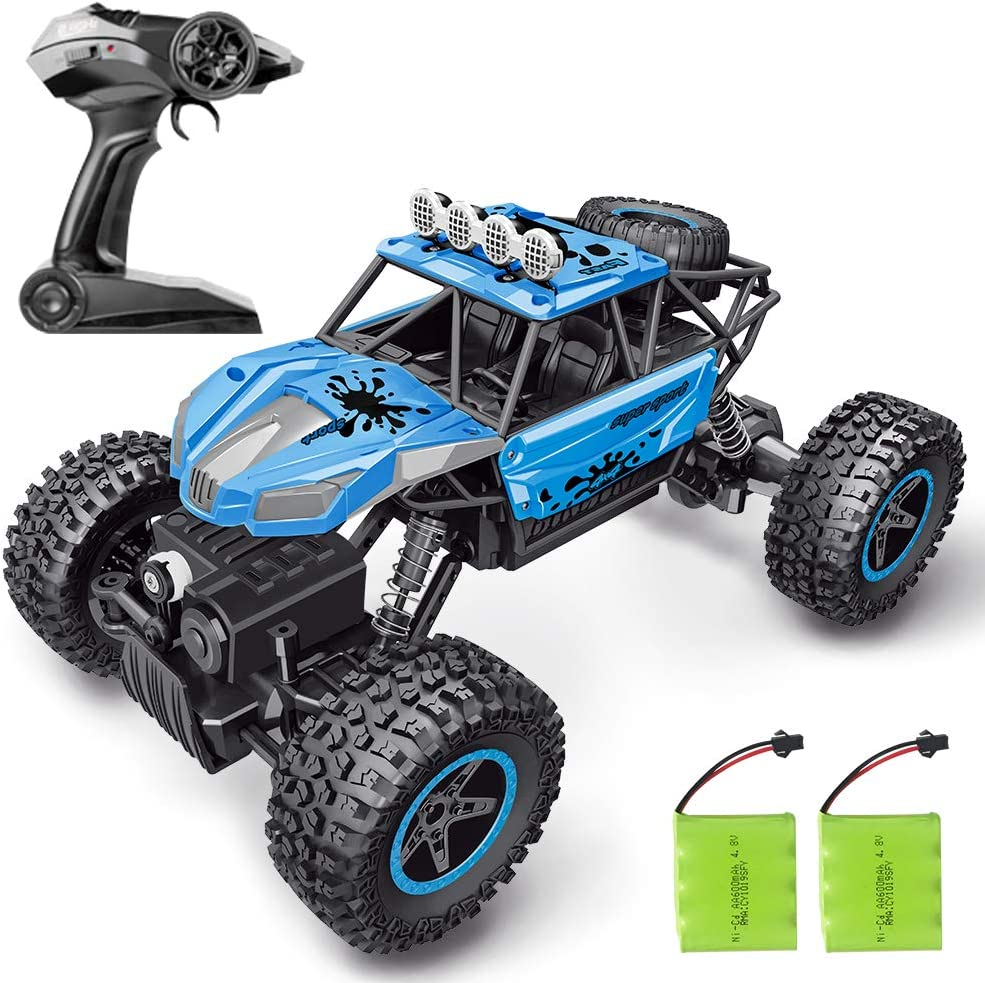 RC Car, SHARKOOL 2020 Updated 2.4Ghz 4WD 1/16 Scale RC Trucks Rc Crawlers Remote Control Auto with zwei Rechargeable Batteries, aus Road Vehicle for Kids & Adults, Blue