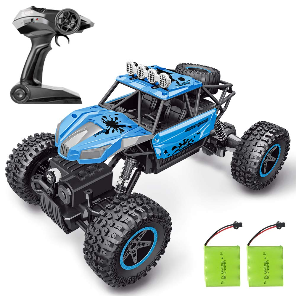 RC Car, SHARKOOL 2019 Newest 2.4Ghz 4WD 1/16 Scale RC Trucks Rc Crawlers Remote Control Car with Two Rechargeable Batteries, Off Road Vehicle for Kids & Adults by SHARKOOL