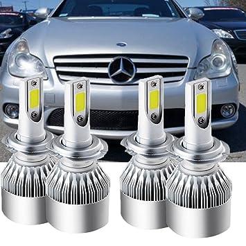 4 bombillas H7 LED para faros delanteros para Mercedes Benz CLS63 AMG 2007 de alto haz bajo: Amazon.es: Coche y moto
