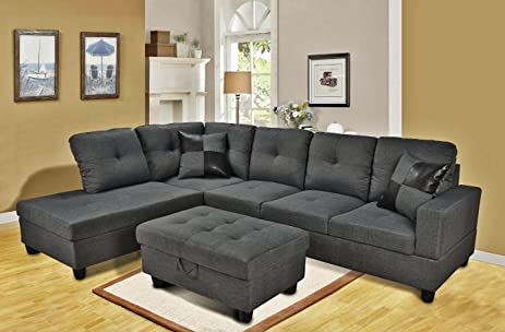 Eternity Home Panama 3 Seated Left Facing L Shaped Sectional Sofa with Ottoman Dark Grey : l shape sectional - Sectionals, Sofas & Couches