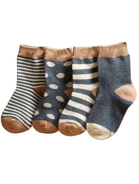 (Pack de 4 pares)Calcetines Infantiles de Algodón para Bebés niños recién nacidos Rayados con puntos 0-6 meses 6-12 meses 1-2 años Gris: Amazon.es: Ropa y ...