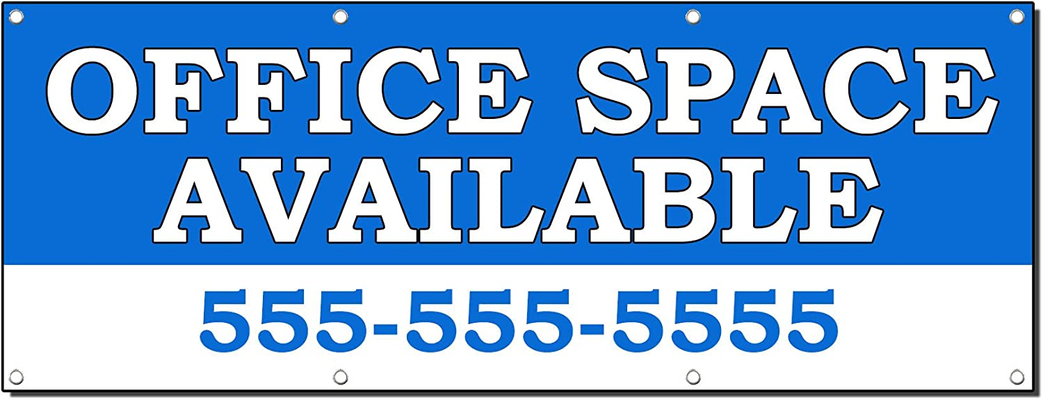 Office Space Available Rent Lease Custom Banner Sign 2' X 4' W/ 4 Grommets
