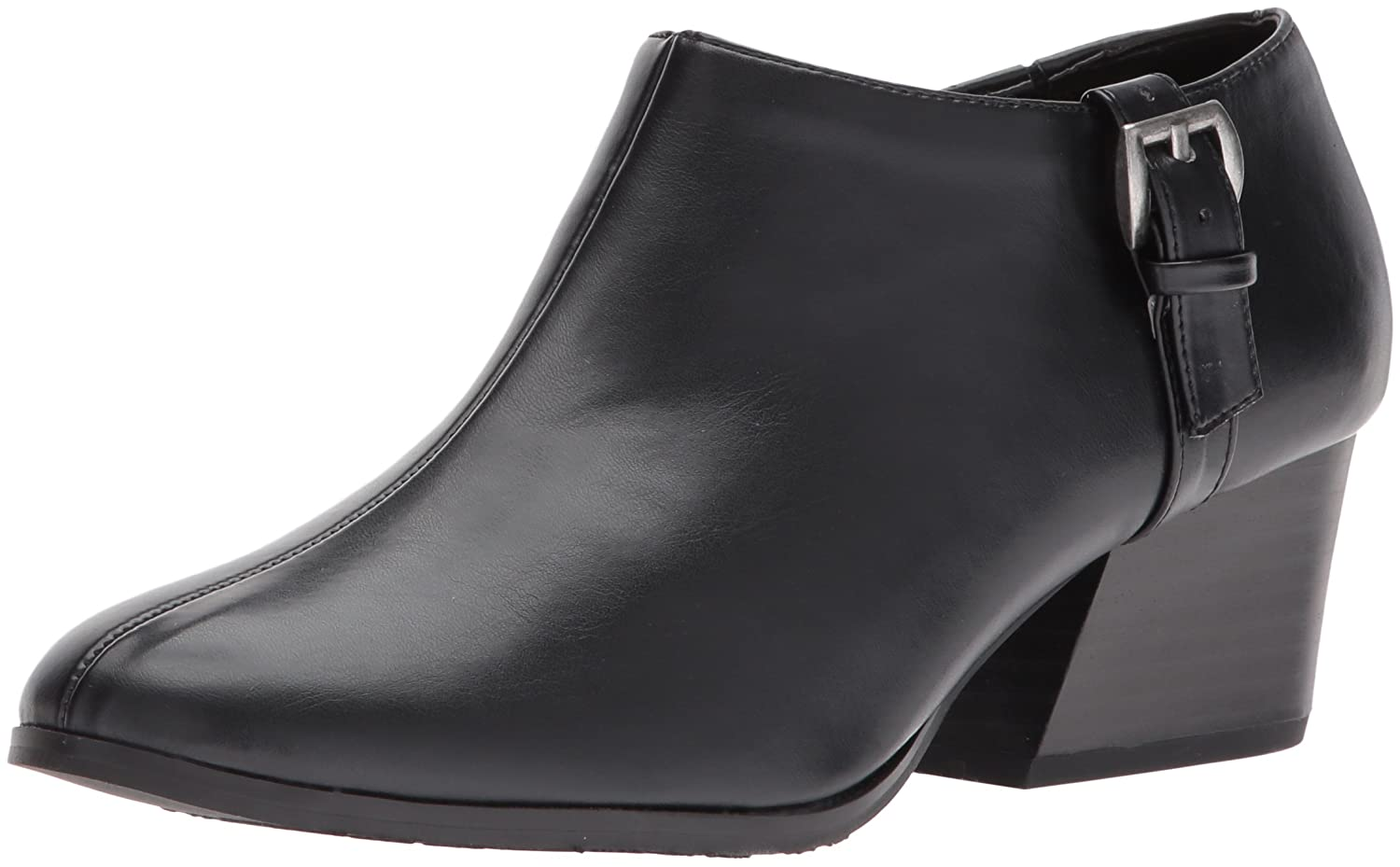 Soft Style by Hush Puppies Women's Glynis Ii Ankle Bootie B01MZFCKB3 8 W US|Black Vitello