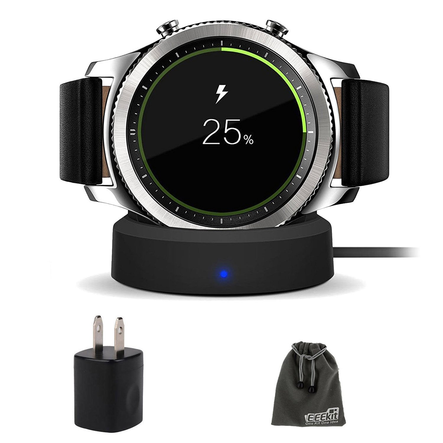 EEEKit Galaxy Gear S3 Charger, Qi Wireless Replacement Charging Dock Cradle Stand Charger + AC Wall Charger Adapter for Samsung Gear S3 Classic/Frontier Smart Watch
