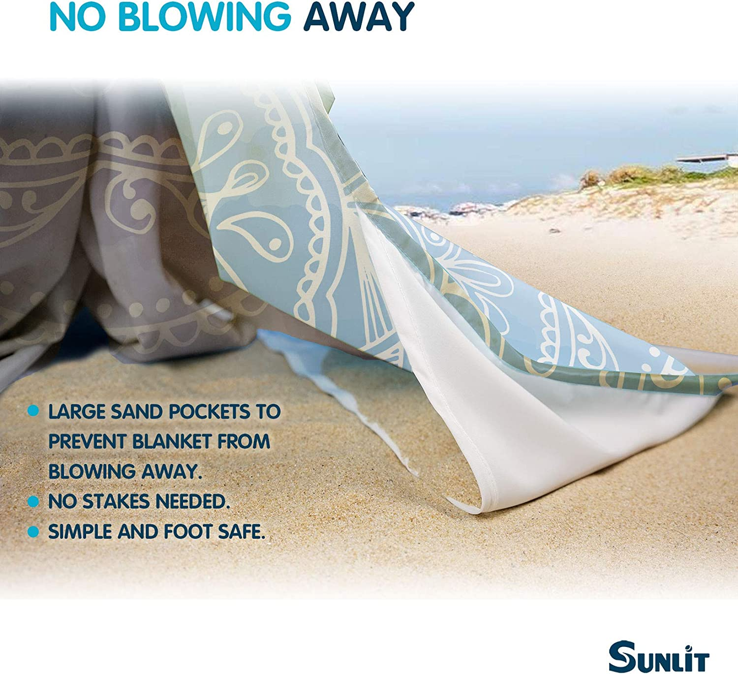 Travel Mandala Sunlit Silky Soft Sand Proof Beach Blanket Sand Proof Mat with Corner Pockets and Mesh Bag for Beach Party Camping and Outdoor Music Festival