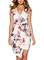 Fantaist Women Wrap V Neck Ruched Asymmetrical Floral Cocktail Party Mini Dress