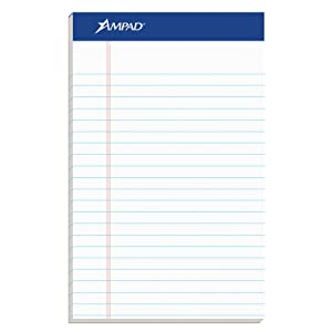 "Ampad Jr. Notepad, College/Medium Ruled, 50 Sheets, White, 5"" x 8"", 12 per Pack (20-364)"