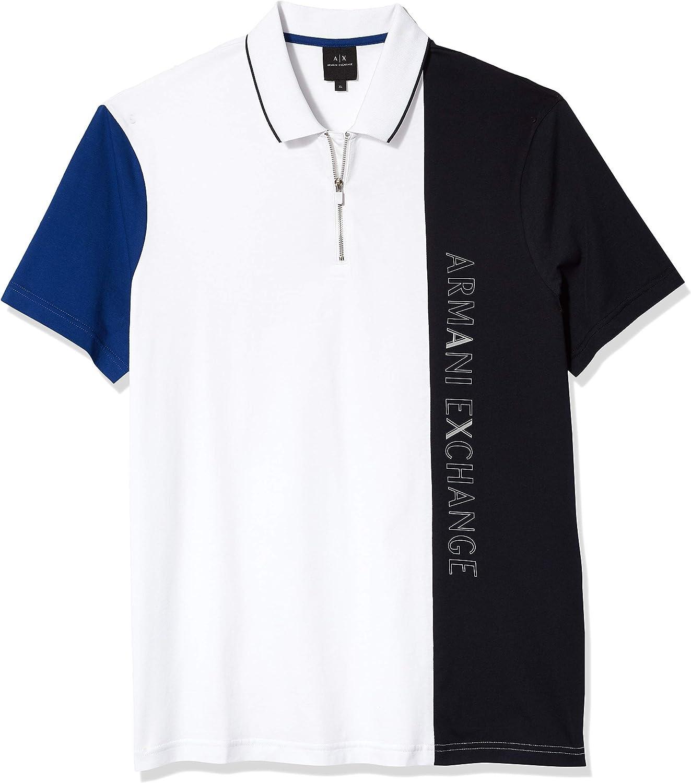 A|X Armani Exchange Men's Regular Fit Contrast Colorblock Short Sleeve Polo Shirt