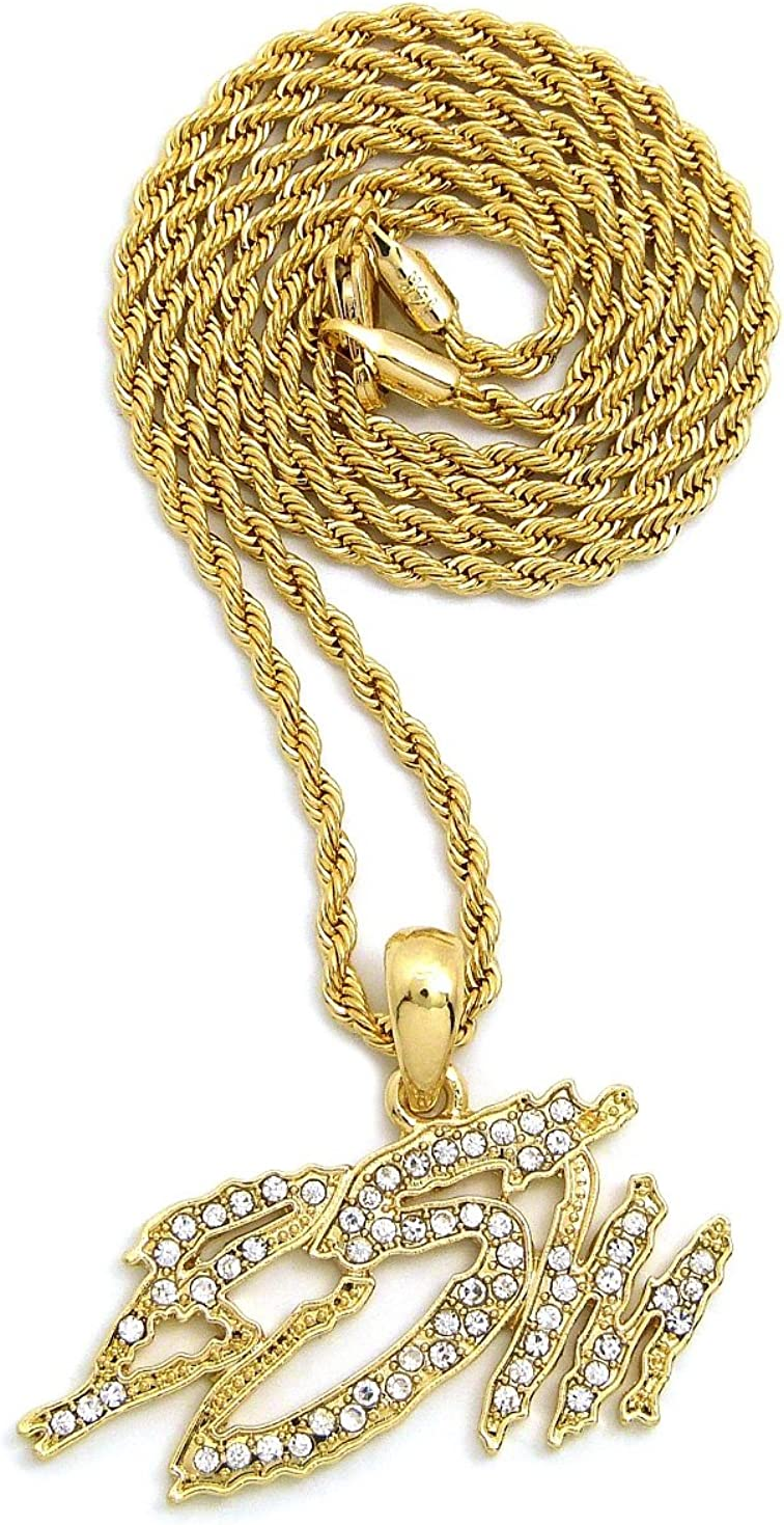 Crescendo SJ INC ICED OUT BSW PENDANT /& 24 BOX//CUBAN//ROPE CHAIN HIP HOP NECKLACES XSP669G