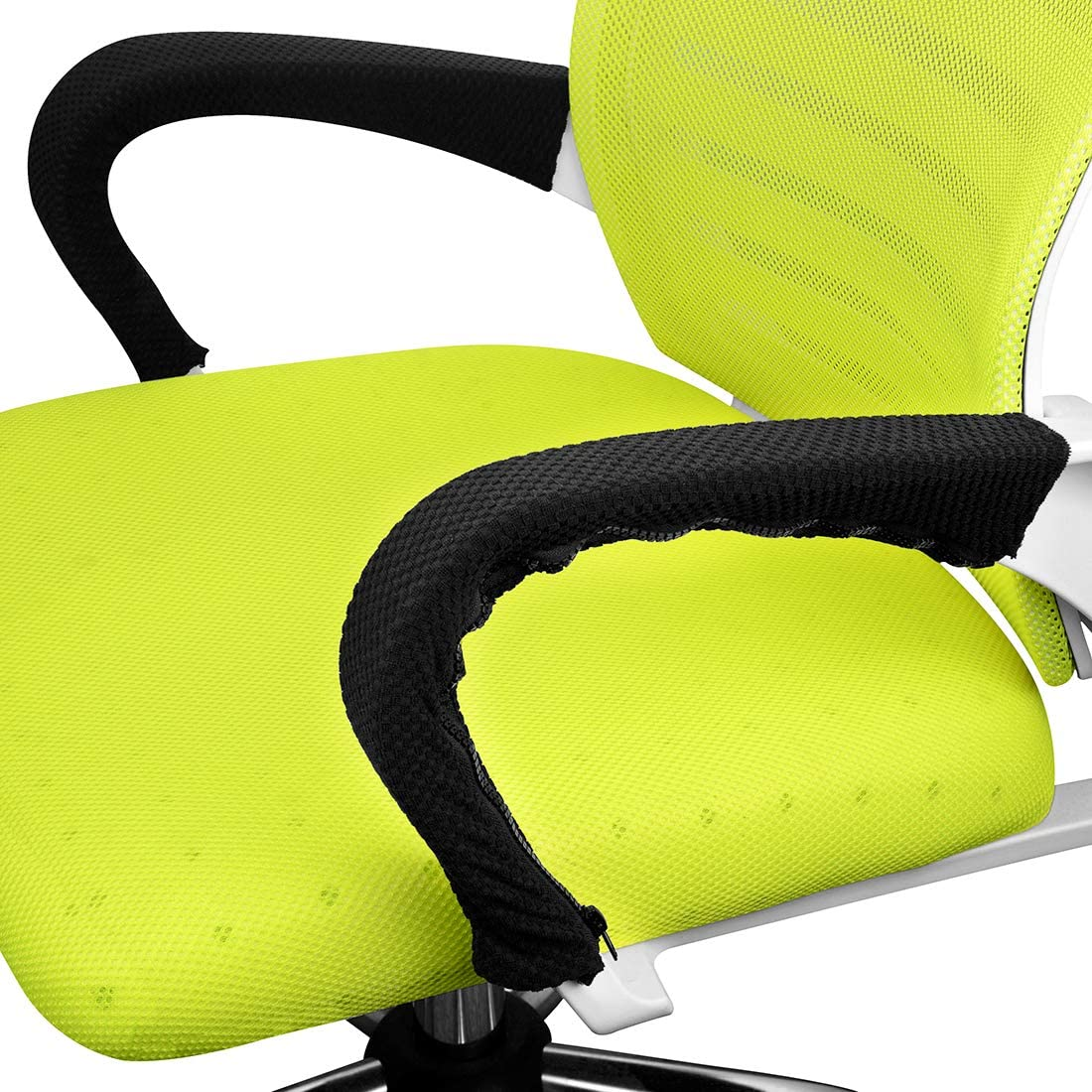 2 Pairs Office Chair Arm Covers, Stretch Grid Armrest Covers for Chairs, Zipper Office Chair Armrest Covers (Blake)