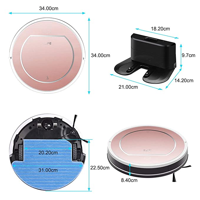 I LIFE V7S Pro Updated Vacuum Cleaner Robot Smart Vacuum Cleaner Automatic Cleaning: Amazon.es: Hogar