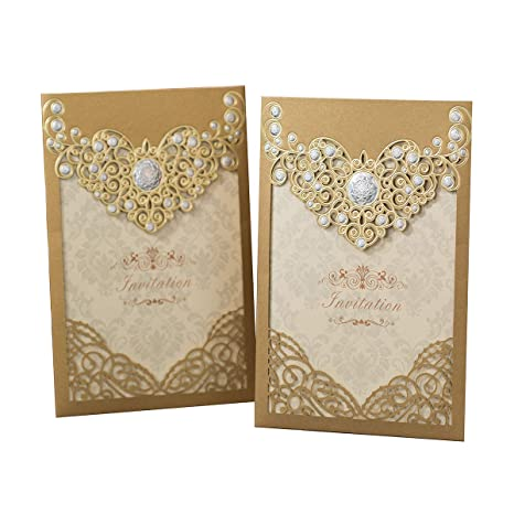 Amazon Com Ponatia 25pcs Laser Cut Invitations Cards Luxury Diamond