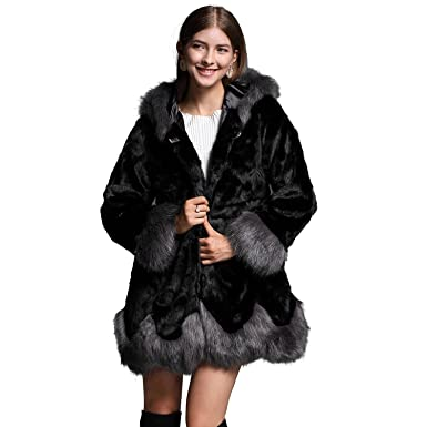 6c04bbcd60 ANRABESS Women Fluffy Warm Winter Long Faux Fur Coat Jackets Hooded Black  XS 43
