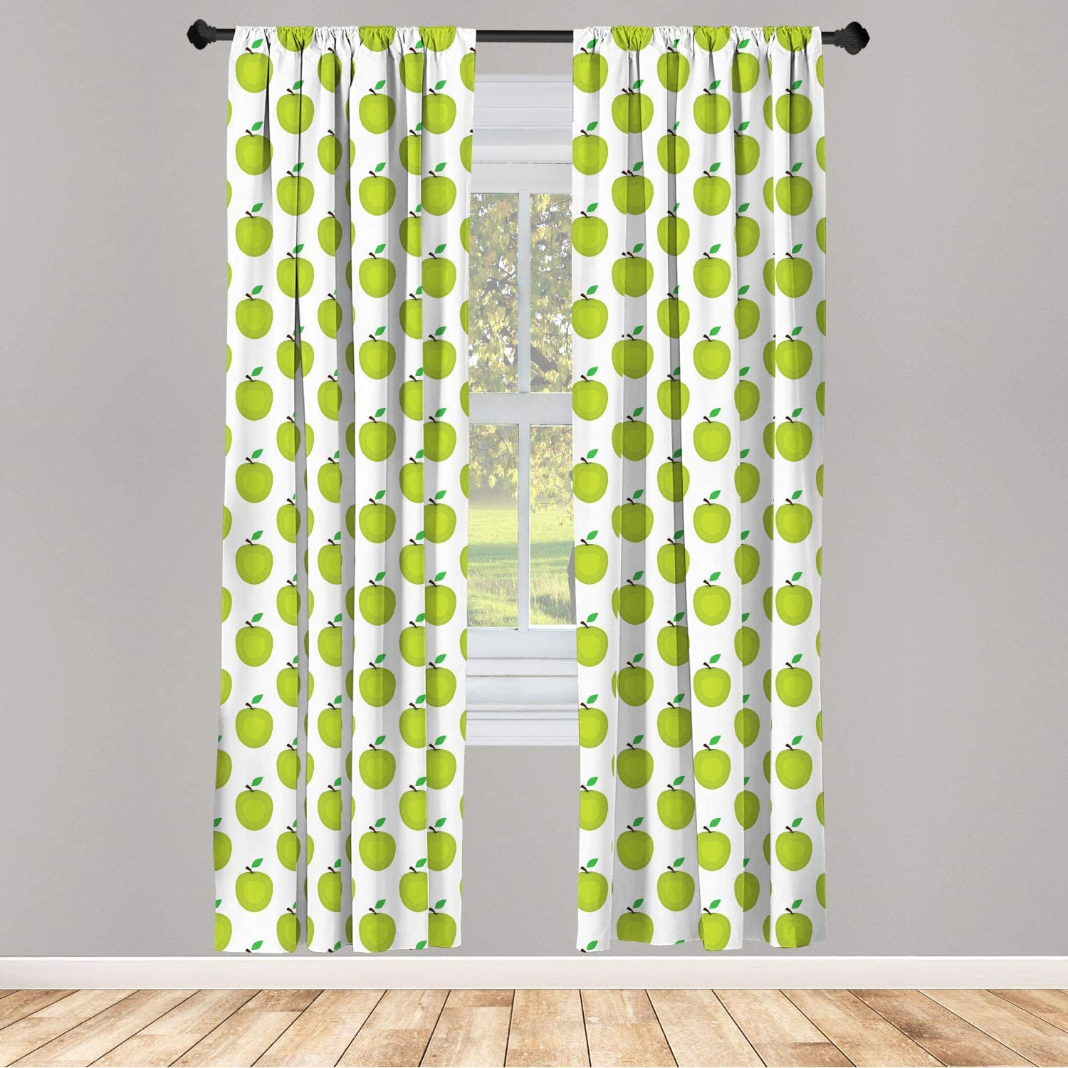 Lunarable Fruits Curtains, Fresh and Ripe Green Apples Graphic Simple Design, Window Treatments 2 Panel Set for Living Room Bedroom Decor, 56