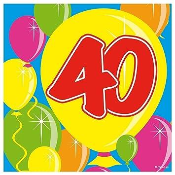Folat 20stk. Servilletas Número 40 cumpleaños Aniversario