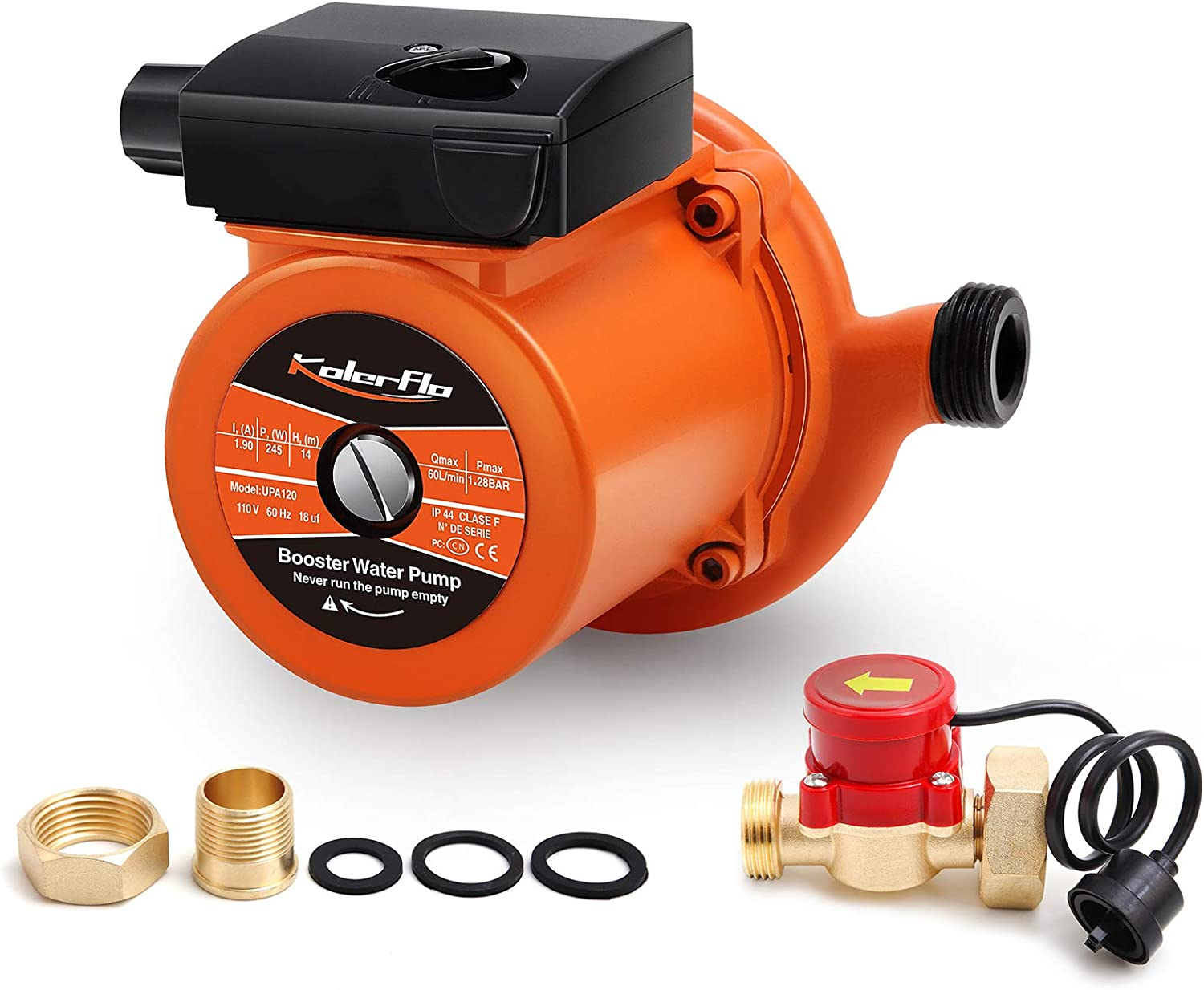 KOLERFLO Home Pressure Booster Pump 948 GPH,18.6 PSI Automatic Boost Pump with Water Flow Switch for Household (UPA120 Orange)