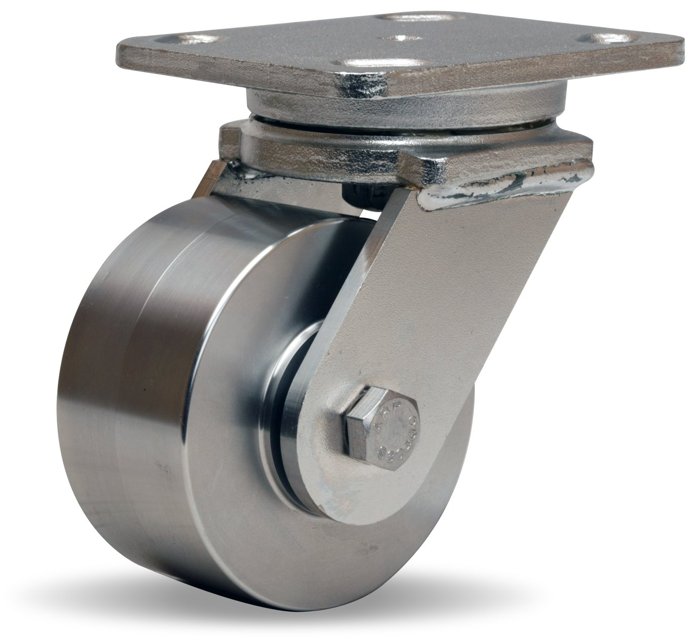 Hamilton Workhorse Plate Caster, Swivel, Stainless Steel Wheel, Stainless Steel Plate, Precision Ball Bearing, 850 lbs Capacity, 4'' Wheel Dia, 2'' Wheel Width, 5-5/8'' Mount Height, 5'' Plate Length, 4'' Plate Width