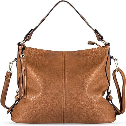 LADIES SLOUCH SATCHEL STYLE FAUX LEATHER ZIP WOMENS COLLEGE BUCKET SHOULDER BAG