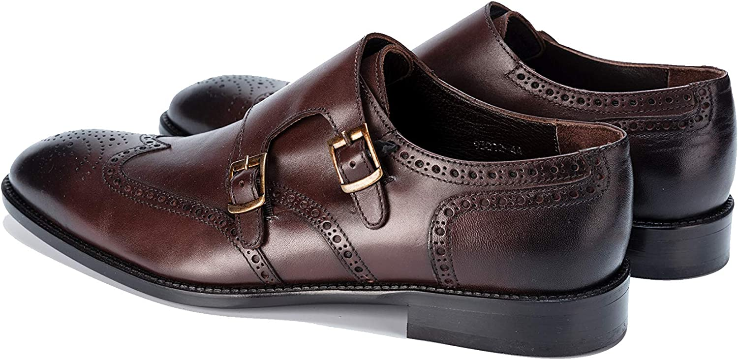Brown Burnished Leather Double Monk Strap Shoes Handmade Jack Martin
