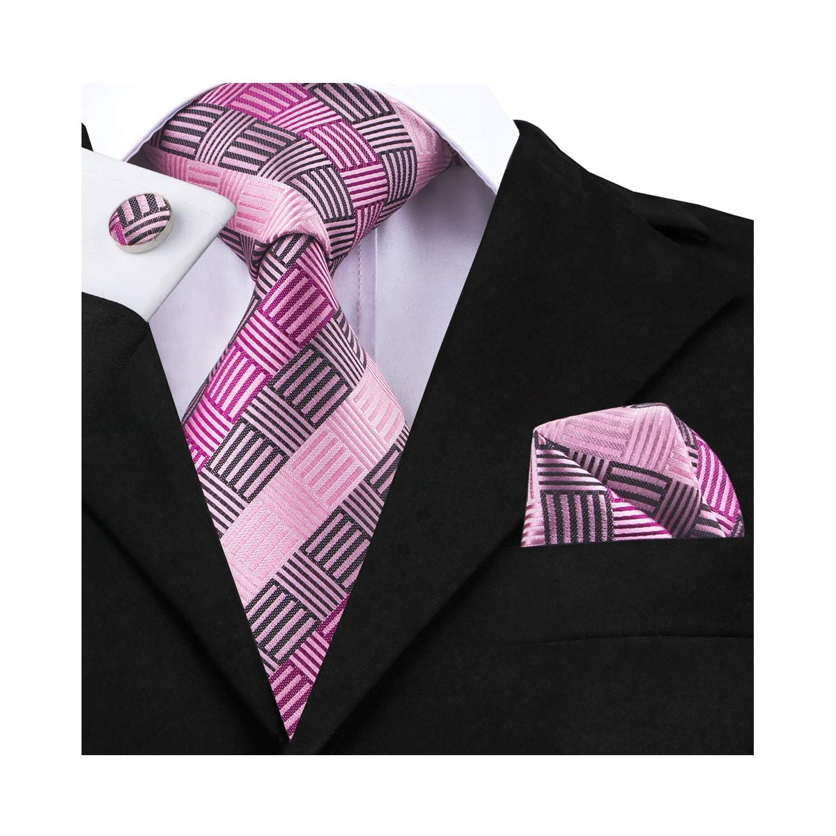 DiBanGu Silk Plaid Tie Handkerchief Pink Woven Tie Pocket Square Set for Men Wedding Business