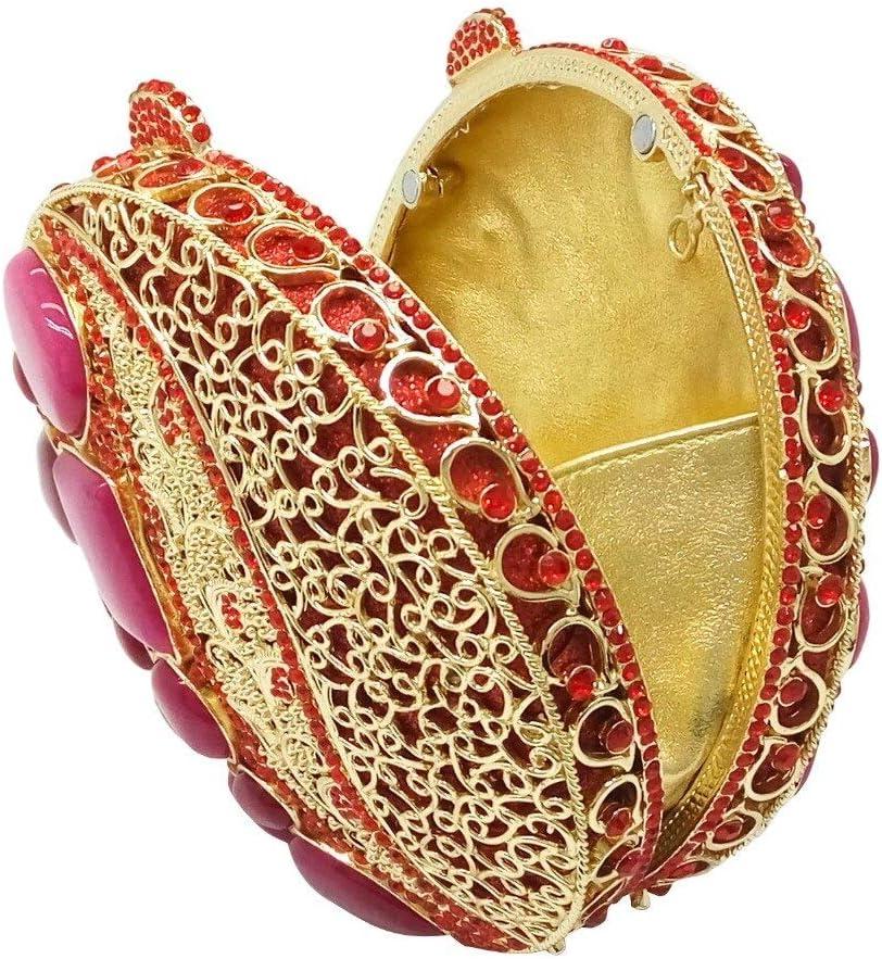 XLJJB Dazzling Round Crystal & Carnelian Agate Women Evening Clutches Bag Cocktail Wedding Clutch Shoulder Handbag 3