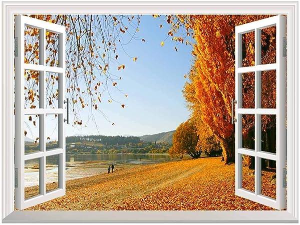 Autumn Golden Fallen Leaves Open Window Mural Wall Sticker 24 X32 Amazon Com