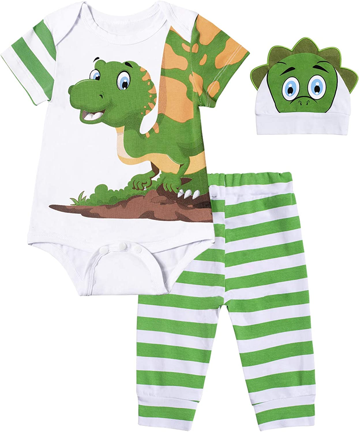 Paddy Field Infant Baby Boys Girl Dinosaur Print Romper Tops Striped Pants Outfit Casual Set