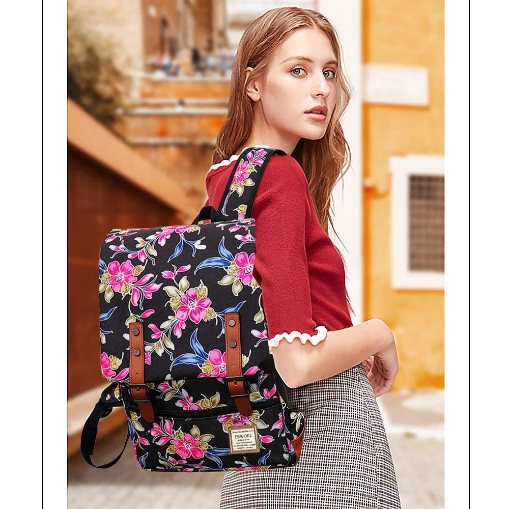 Floral FEWOFJ Women Bag College Daypack Computer Rucksack School Bookbag for Girls Casual Fashion Travel Laptop Backpack with USB Charging Port /& Headphone Jack