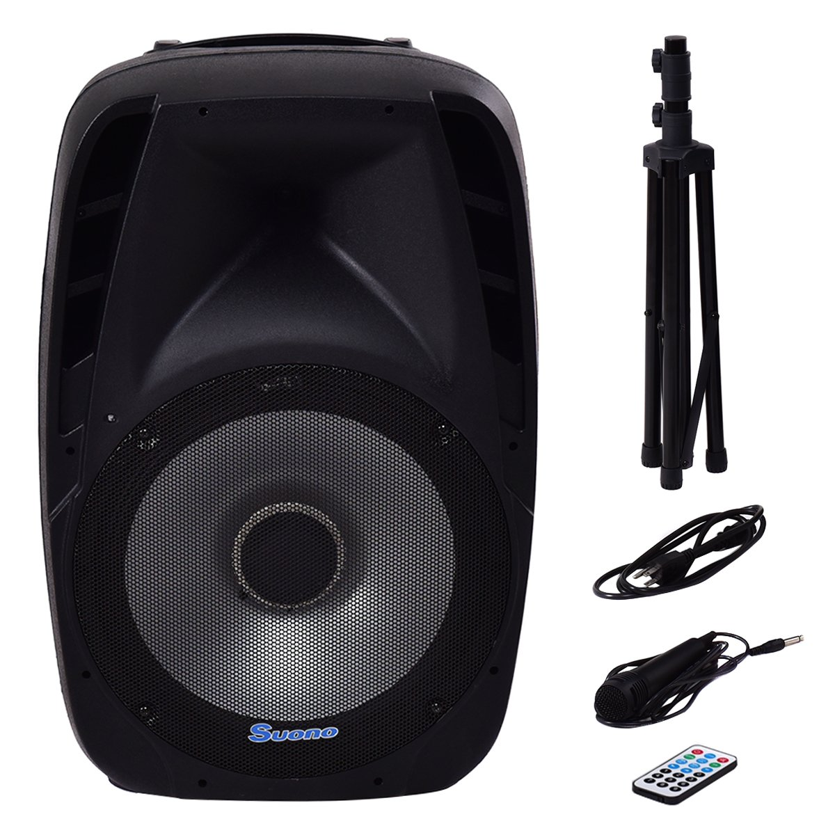 Suono 15'' 1500W Powered Speakers, 2-Way Full Range Portable PA Speaker System Combo Set With Stands/ Illuminating Light /Microphone/EQ/USB/Bluetooth