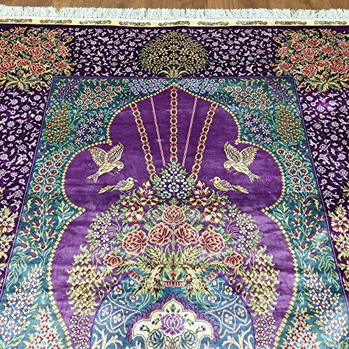 Yuchen New 4x6 Multi Color Fine Silk Floral Carpet Persian
