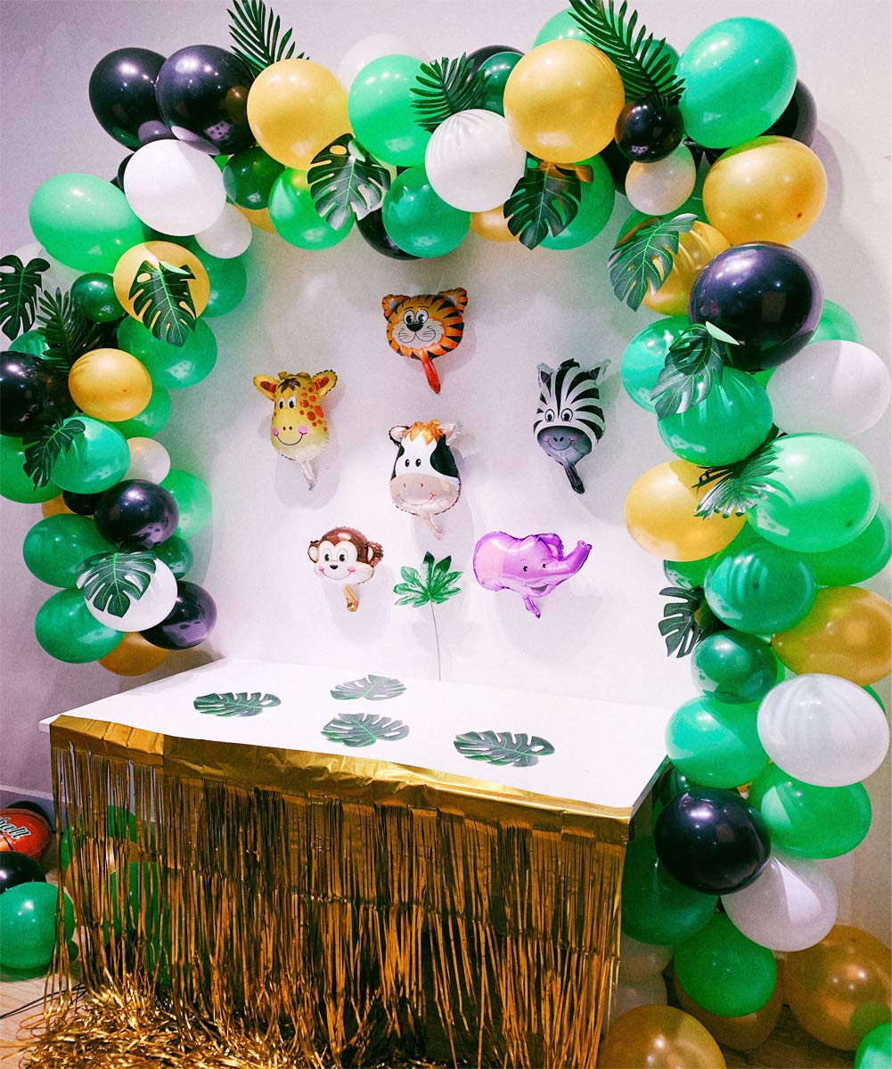 Jungle Safari Theme Party Decorations 174pcs:130 latex balloons,24 Green Palm Leaves, 16 feets Arch Balloon strip tape, 2 Balloon tying tools Safri party Supplies and Favors for Kids Boys Birthday Baby Shower Decor by foci cozi (Image #2)