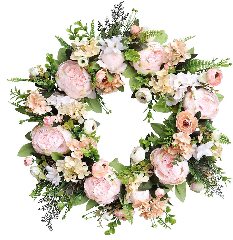 Agirlgle Spring Wreath Artificial Peony Flower Wreath for Front Door 20 inch Springtime Faux Flower and Artificial Flower Hanger Indoor Natural Vine Wreath Home Decor for Window, Outdoor, Wedding