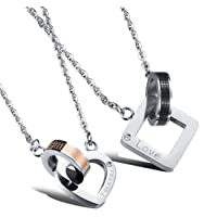 Foever Love Zircon Double Pendant Couple Necklace - Romantic Jewlry Gift