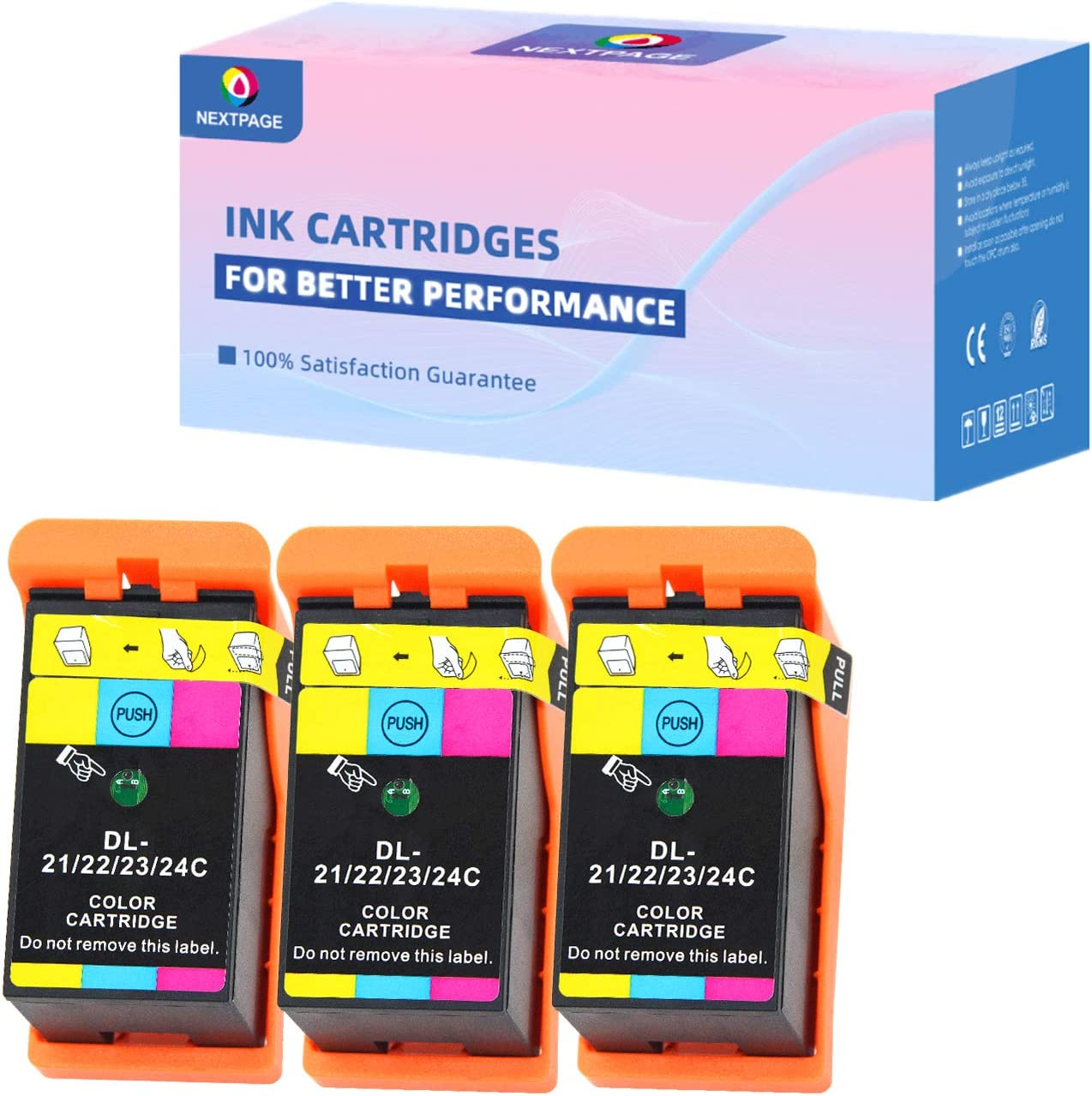 NEXTPAGE Compatible Dell Series 21, Series 22, Series 23, Series 24 Color Ink Cartridges Compatible for Dell V313 V313W V515W P513W P713W V715W Printer, Dell Series 21 Color Ink 3 Pack