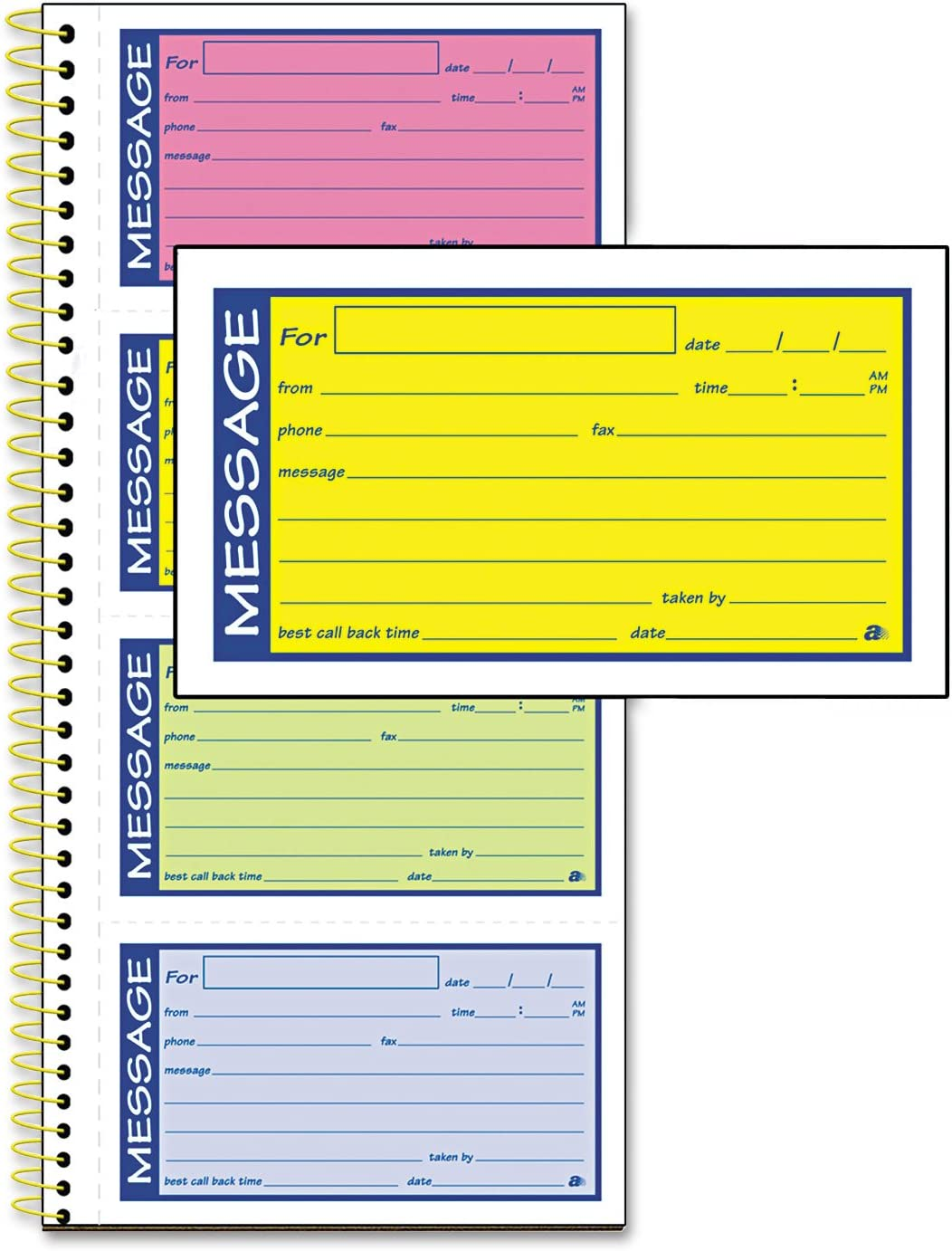 Adams SC1153RB Wirebound Telephone Message Book 200 Forms Two-Part Carbonless