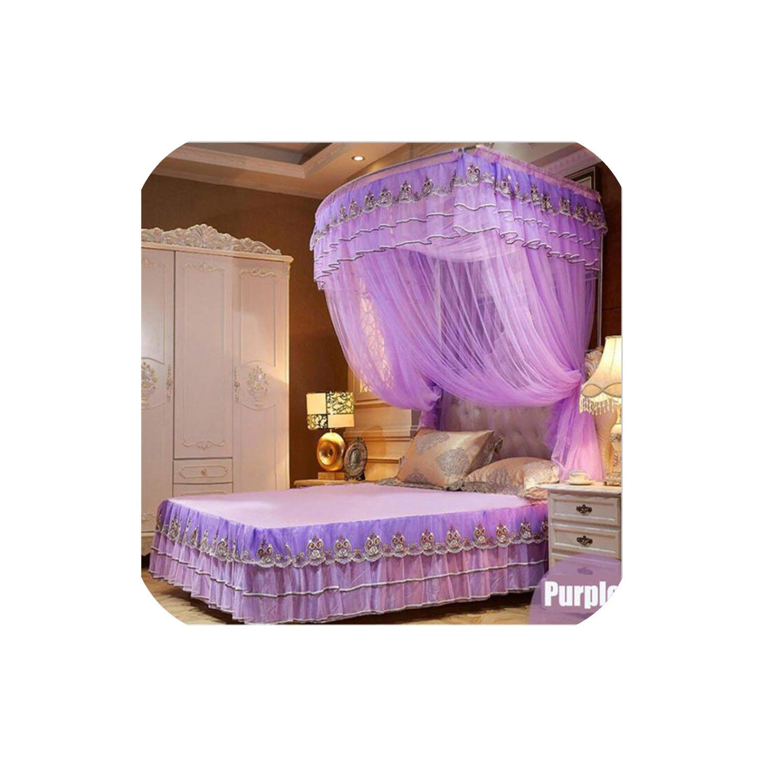 Fishing Rod Retractable Mosquito Net Multi Size Wedding Lace Mosquito Net 50D Encryption Soft Yarn Nice Bed Decor,Purple,1.5Mwx2Mlx2.1Mh