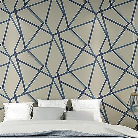 Blu Metallizzato Moderno Geometrico Wallpaper Per Camera Da Letto
