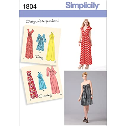 Amazon.com: Simplicity 1804 Misses Knit Dresses Sewing Pattern, Size ...
