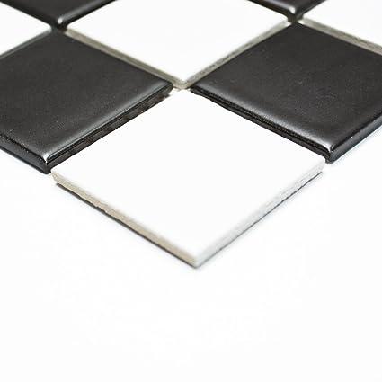 Carrelage mosaïque en céramique - Noir et blanc mat en damier - 5 mm ... 21250adca0c