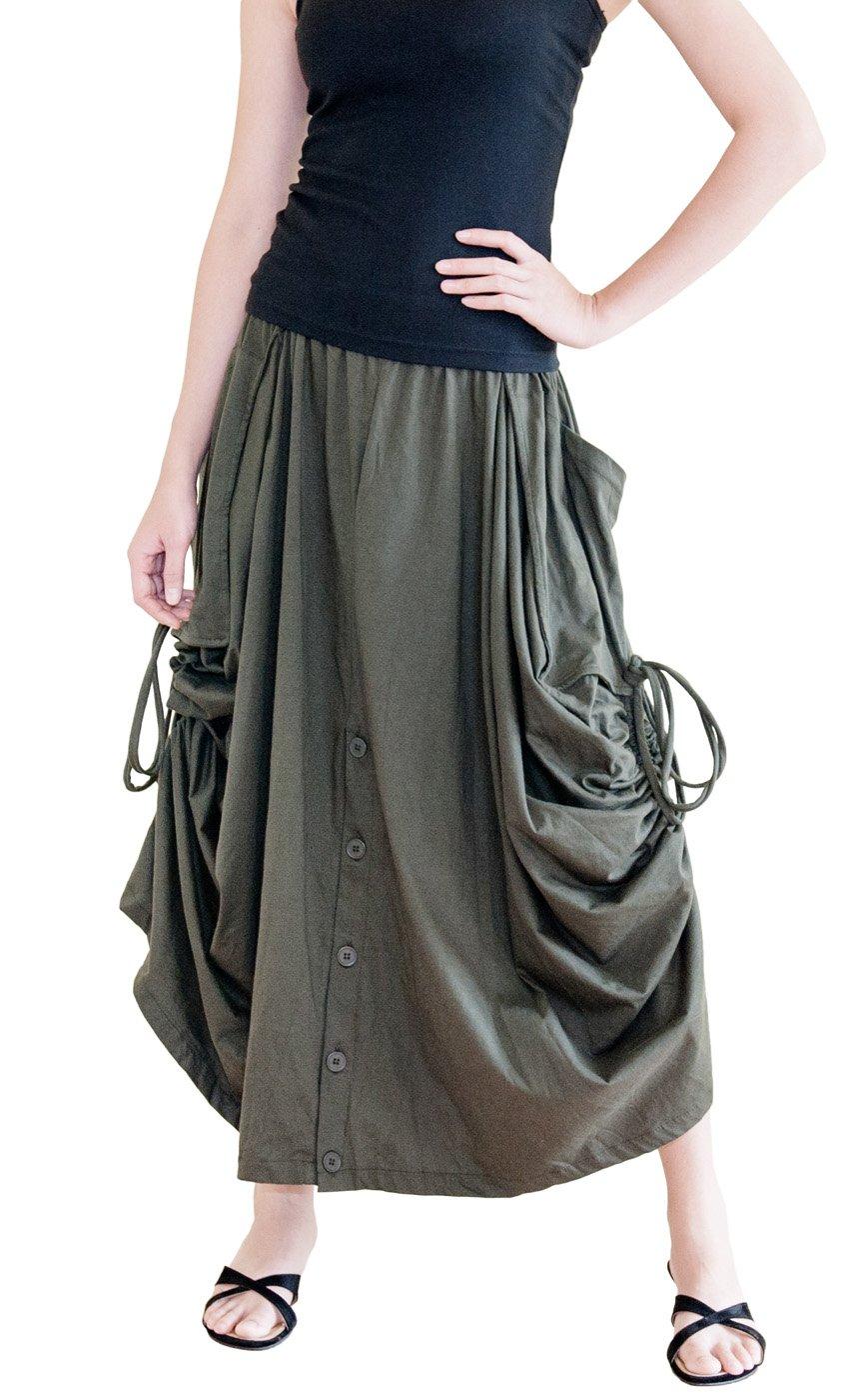 BohoHill Convertible Maxi Skirt Pants Cotton Jersey Versatile Skirt (Dark Olive)