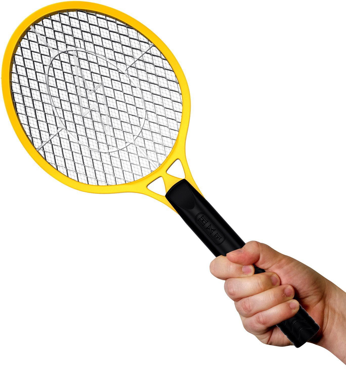 BugzOff Electric Fly Swatter Racket - Best Zapper for Flies - Swat insect repellent, Wasp, Bug & mosquito repellent with Hand - Indoor and Outdoor Trap and Zap Pest Control Killer (Yellow) Tennis-Yellow