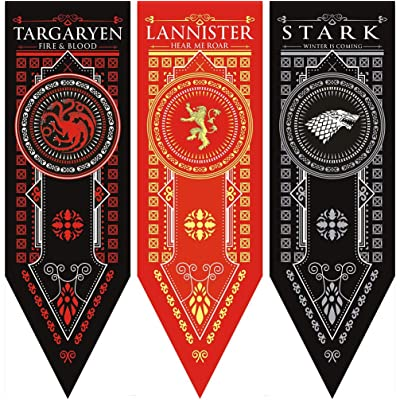 "Awyjcas Game of Thrones House Sigil Tournament Banner (18"" by 60"") 100% Polyester High Quality Banner - Set of 3 Party Supplies …: Toys & Games"