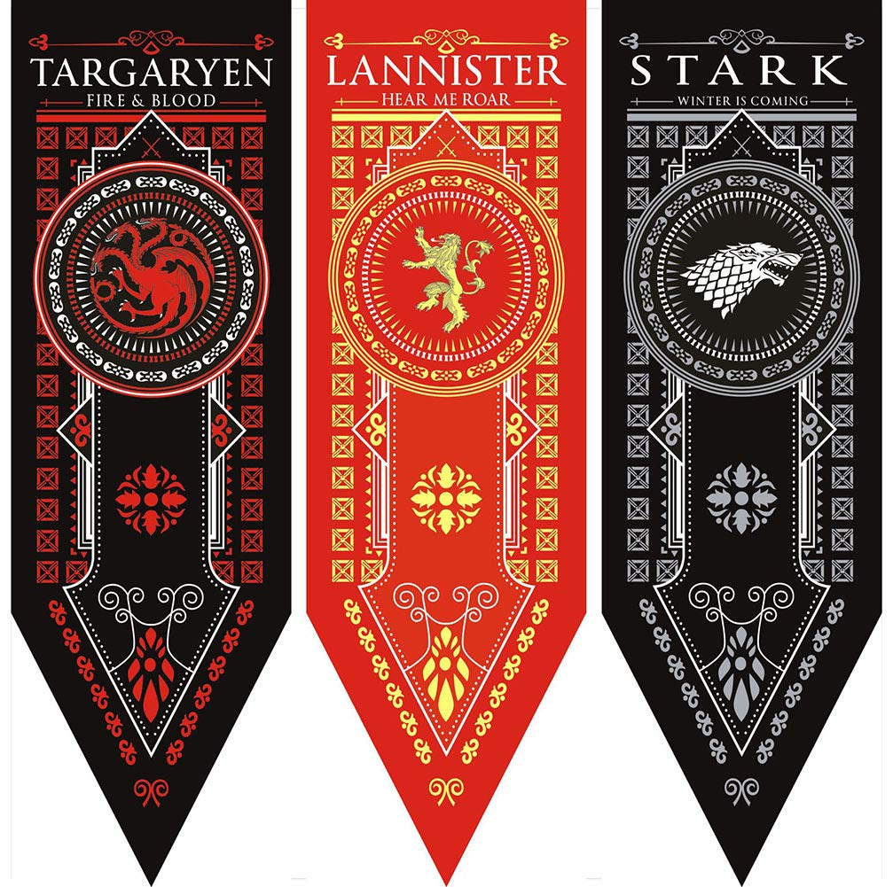 Game of Thrones House Sigil Tournament Banner (18'' by 60'') 100% Polyester High Quality Banner - Set of 3 Party Supplies